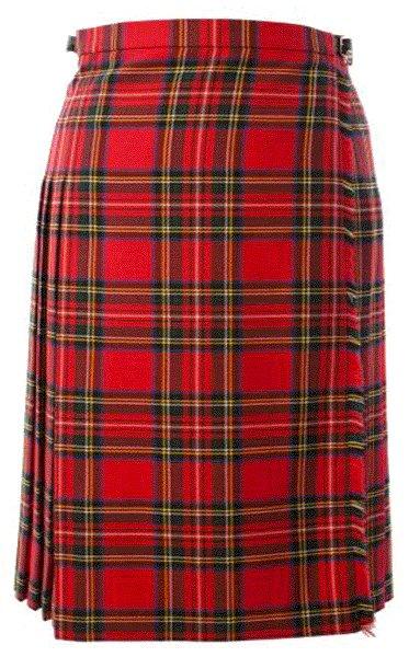 Ladies Full Length Kilted Skirt, 30 Waist Size Royal Stewart Tartan Pleated Kilt-Skirt