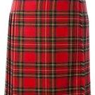 Ladies Full Length Kilted Skirt, 32 Waist Size Royal Stewart Tartan Pleated Kilt-Skirt