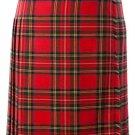 Ladies Full Length Kilted Skirt, 34 Waist Size Royal Stewart Tartan Pleated Kilt-Skirt