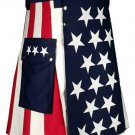 New Tactical Kilt Modern USA Stars and Stripes Kilt 62 Size US Flag Hybrid Utility Kilt