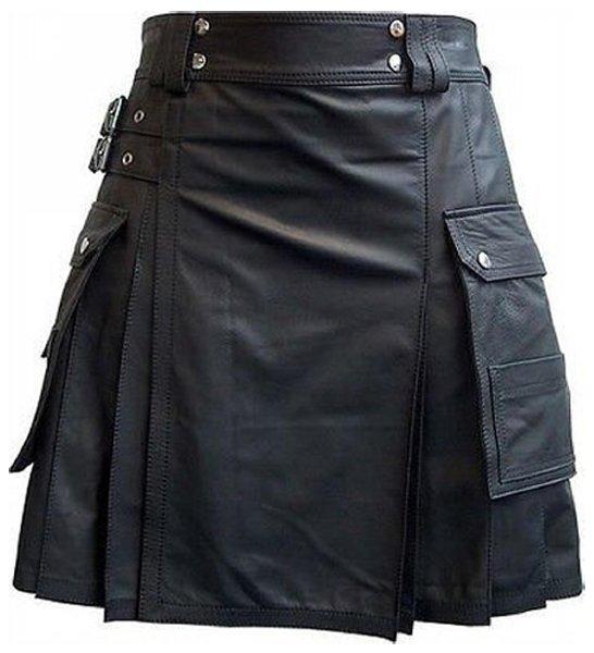 Handmade 54 Size Leather Pleated Kilt Utility Cargo Pocket Kilt Scottish Leather Skirt