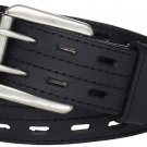 Highland Scottish Thick Black Kilt Belt Custom Size Double Prong Kilt Belt with Buckle