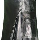 38 Size Deluxe Handmade Pure Leather Black Kilt Genuine Cowhide Skin Skirt Kilt for Men