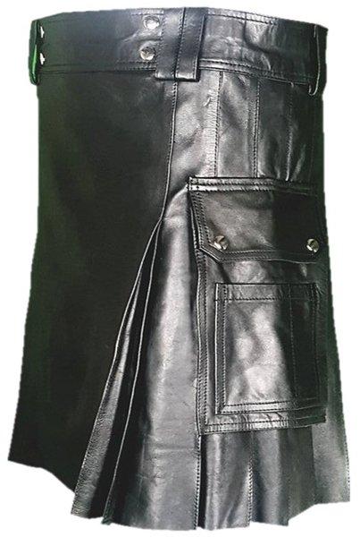 58 Size Deluxe Handmade Pure Leather Black Kilt Genuine Cowhide Skin Skirt Kilt for Men