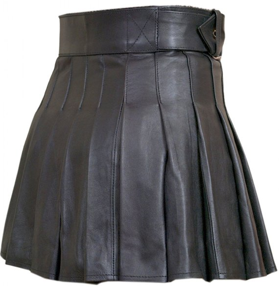 Real Black Leather Wrap-around Leather Mini Skirt Kilt Size 32 Ladies Mini Stylish Skirt