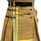 Custom Made Fireman Khaki Cotton Utility Kilt With Cargo Pockets 48 Size Heavy Duty Tactical Kilt