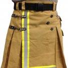 Custom Made Fireman Khaki Cotton Utility Kilt With Cargo Pockets 54 Size Heavy Duty Tactical Kilt
