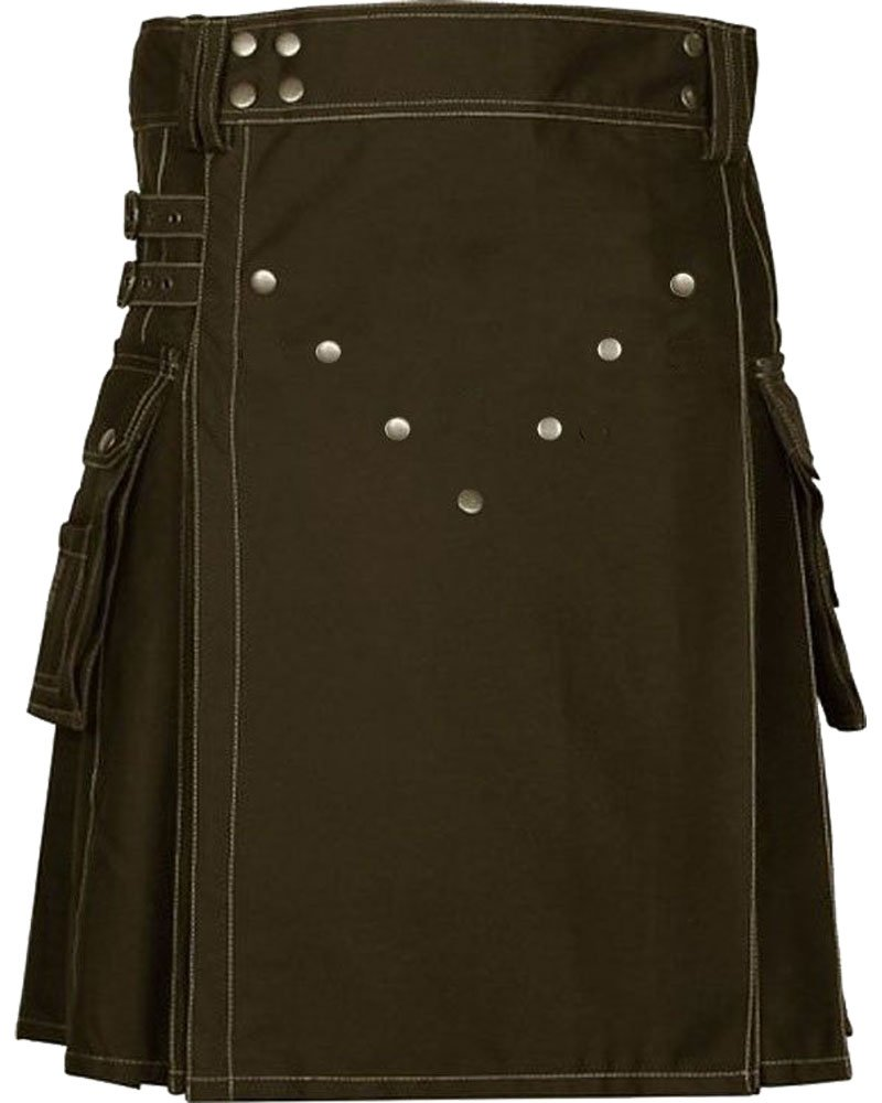 Unisex Adult Scottish Kilt Highland Cargo Brown Cotton Utility Kilt with Straps Made to Fit 48 Waist