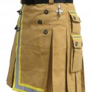 60 Size Fireman Khaki Cotton UTILITY KILT With Cargo Pockets Heavy Duty Utility Kilt