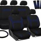 Car Seat Covers for Honda Civic Blue Black w/ Steering Wheel/Belt Pad/Head Rests