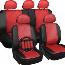 New Faux Leather Car Seat Cover for Kia Soul Red with Steering Wheel/Belt Pad/Head R