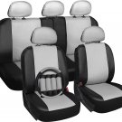 New Faux Leather Black White Seat Cover for Toyota Camry w/Steering Wheel/Belt Pads