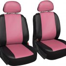 New Faux Leather Pink Black Seat 6pc Bucket for Ford F150 w/Detachable Head Rests