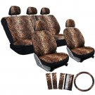 New Car Seat Covers Orange 17pc Set for Auto Cheetah Leopard Animal Print Belt Pads