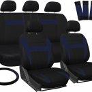 New Honda Civic Blue Black Car Seat Covers w/ Steering Wheel/Belt Pad/Head Rests