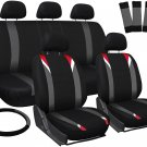 New Toyota Corolla Red Gray Black Car Seat Cover w/Steering Wheel/Belt/Head Rest