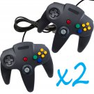 2 PCS NEW Long Controller Game System for Nintendo 64 N64 Black