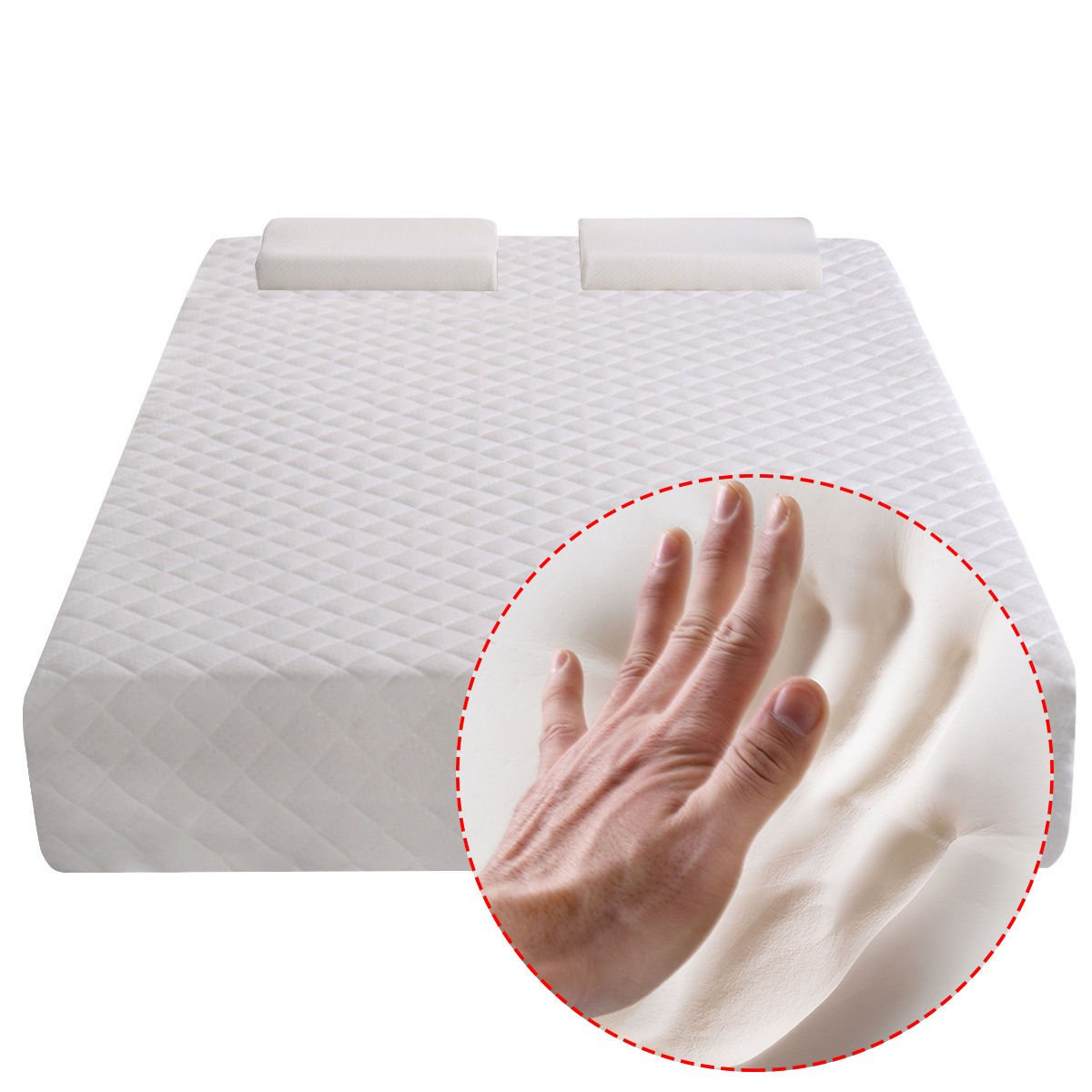 New Full Size 10 Memory Foam Mattress Pad Bed Topper 2 Free Pillows