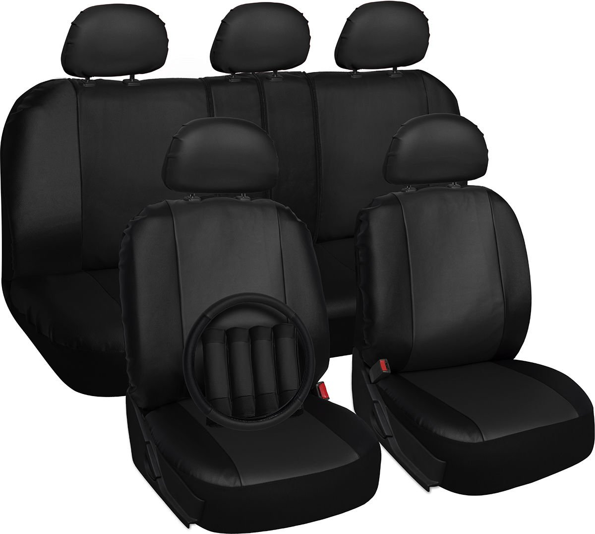 New Faux Leather Black Seat Cover for Hyundai Sonata w/Steering Wheel/Belt/Head Rest