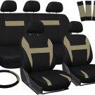 New Car Seat Covers for Honda Civic Tan Black w/ Steering Wheel/Belt Pads/Head Rests