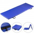 Blue Tri-Fold Gymnastics Mat 6'x2' Folding Fitness Exercise w/ Carrying Handles