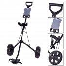 Folding 2 Wheel Push Pull Golf Club Cart Trolley Swivel w/Scoreboard Lightweight