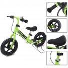 "12"""" Green Kids Balance Bike Children Boys & Girls with Brakes and Bell Exercise"