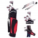 New 6 Piece Golf Club Set for Kids Wood Iron Putter w/Stand Bag Age 11-13 Red