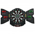 Professional Electronic Dartboard Cabinet Set w/ 12 Darts Game Room LED Display