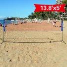 Portable 13.8'x5' Badminton Beach Volleyball Tennis Training Net w/ Carrying Bag