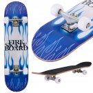"31"""" x 8"""" Professional Skateboard Longboard Complete Trucks Maple Deck Wood Child Blue Fire"