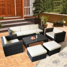 8 PCS Rattan Wicker Patio Furniture Set Sectional Cushioned Ottoman Sofa Gray