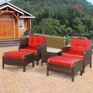 5 PCS Patio Rattan Wicker Furniture Set Sofa Ottoman W/Red Cushion Garden Yard