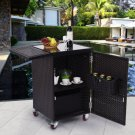 Rattan Wicker Kitchen Trolley Cart Patio Roller Dining Storage Glass Stand New