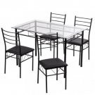 5 Pcs Dining Table Set w/4 Chairs Glass Metal Kitchen Breakfast Furniture G32