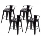 24'' Metal Frame Tolix Style Bar Stools Industrial Chair with Back, Set of 4