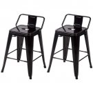 24'' Metal Frame Tolix Style Bar Stools Industrial Chair with Back,Set of 2