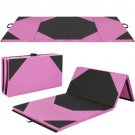 "4'x10'x2"""" Gymnastics Gym Folding Exercise Aerobics Mats Pink Stretching Yoga Mat"