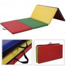 "4'x8'x2"""" PU Gymnastics Mat Gym Folding Panel Yoga Exercise Tumbling Pad 4 Colors"