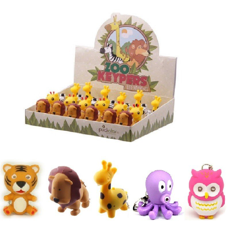 Cute Animal LED Keychains with Sound Effects (5 Pack)