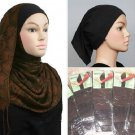 Ships free 3 pc Ramadan Special 1 Brown Romance Shawl + cap + sleeves Combo Hijab Hejab