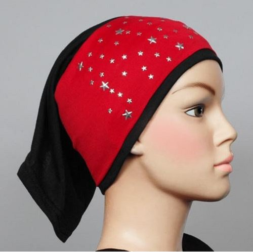 Free Shipping Red Star Studded Lycra Tub headband HIjab hejab  yoga Headband Muslim Eid