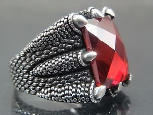 Handcrafted Turkish .925 Fine Sterling Silver Men's Dragon Claw Grasp Ruby Ring