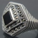 Ace of Diamonds Style Men's Onyx Silver Ring w/ Marcasite Gems Turkish Handmades