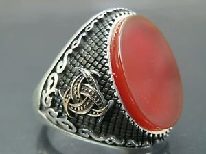 Doctor's Biohazard Style Turkish Handmade Men's .925 Fine Silver Red Agate Ring