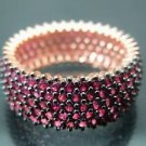 Hand-Made Turkish 925 FIne Silver Women's Ruby Ring Band with Bronzed Enrichment