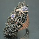 Turkish Hand-Made .925 Fine Silver Women's Amethyst Spider Cobweb Ring w/  Onyx