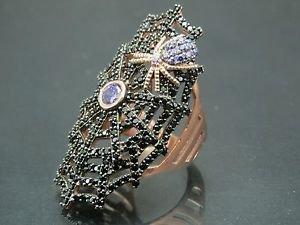 Turkish Hand-Made .925 Fine Silver Women's Amethyst Spider Cobweb Ring w/  Onyx