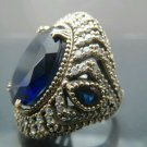 Hand Made Turkish .925 Fine Silver Women's Hurrem Style Oval Sapphire Ring