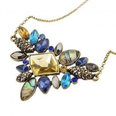 Antique Gold Plated Vintage Mixed Rhinestone Pendant Necklaces Boho Flower Style